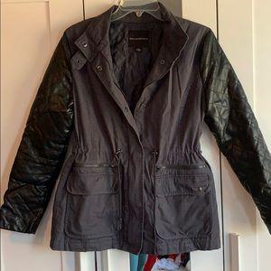 Leather sleeved jacket.